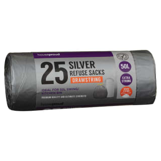 Silver Drawstring Refuse Sacks 25pk