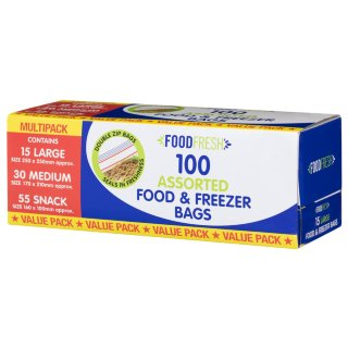 Assorted Food & Freezer Bags 100pk