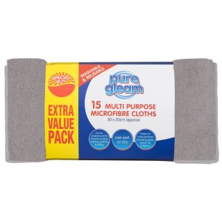 Multi Purpose Microfibre Cloths 15pk - Grey