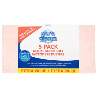 Deluxe Super Soft Microfibre Dusters 5pk - Pink