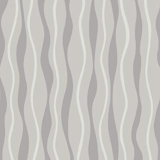 Metallic Wave White-Silver Wallpaper