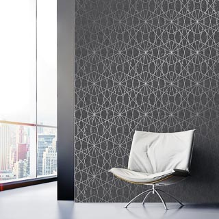 Cascade Motif Black Wallpaper