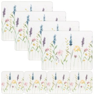 Traditional Cork Placemat & Coaster Set 8pc - Floral