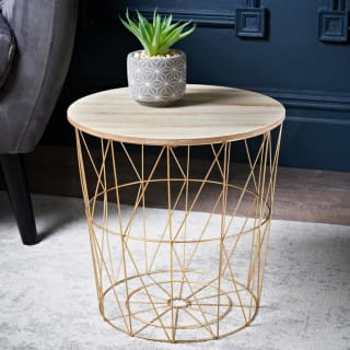 Tromso Basket Side Table - Gold