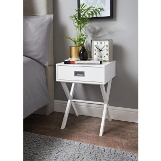 Modern 1 Drawer Bedside Table Bedroom Decor Various Colours-Grey//White//Blush