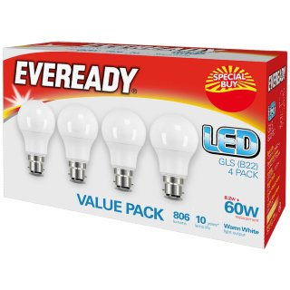 Eveready 60W GLS LED Bulbs 4pk