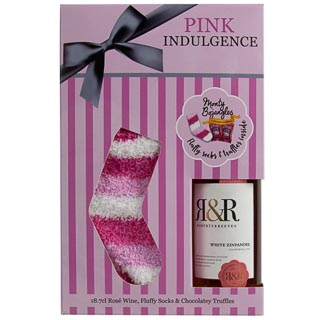 Pink Indulgence Wine, Socks & Choc Gift Set