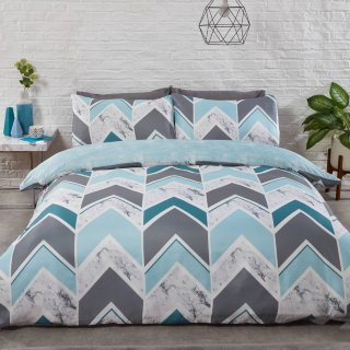 Marble Chevron King Duvet Set