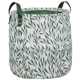 Printed Storage Basket - Green Leaf