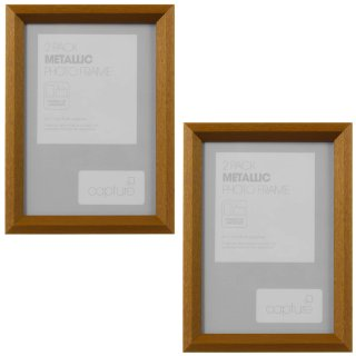 "Metallic Etch Photo Frame 5 x 7"" 2pk - Bronze"