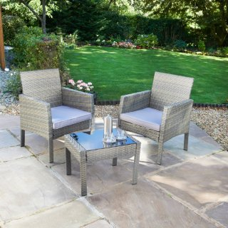 Sorrento Rattan Armchair Bistro Set 3pc