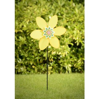 Flower Windmill Stake - Yellow