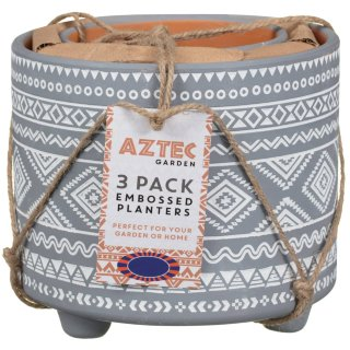 Aztec Footed Plant Pots 3pk - Grey