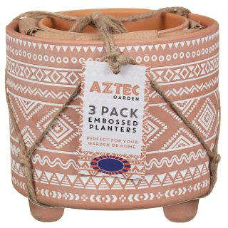 Aztec Footed Plant Pots 3pk - Terracotta