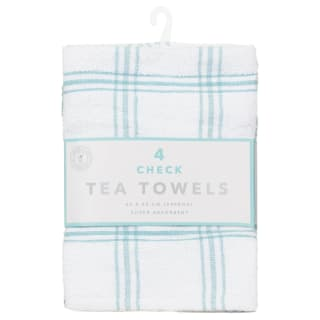 Check Tea Towels 4pk - Duck Egg