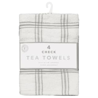 Check Tea Towels 4pk - Grey
