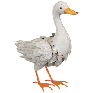 Decorative Metal Duck - White