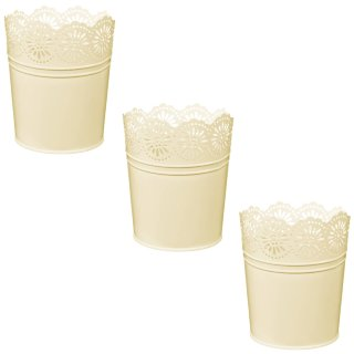 Boho Garden Decorative Metal Planters 3pk - Cream