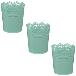 Boho Garden Decorative Metal Planters 3pk - Green