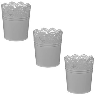 Boho Garden Decorative Metal Planters 3pk - Grey