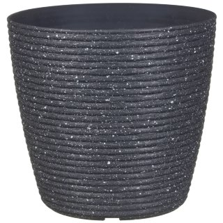 Ribbed Speckled Planter - Dark Grey