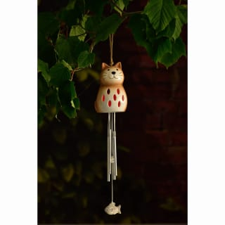 Ceramic Solar Light Wind Chime - Cat