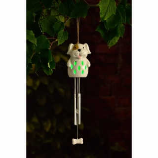 Ceramic Solar Light Wind Chime - Dog