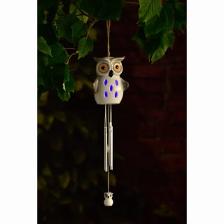 Ceramic Solar Light Wind Chime - Owl