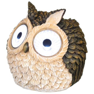 Solar Owl with Light Up Eyes 10cm - Brown