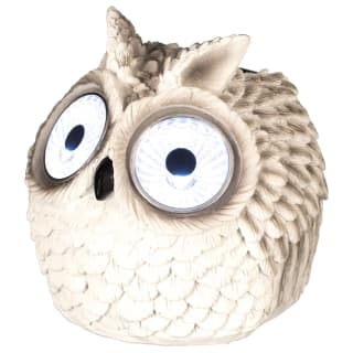 Solar Owl with Light Up Eyes 10cm - White