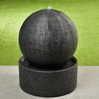 Light Up Ribbed Ball Water Feature - Grey