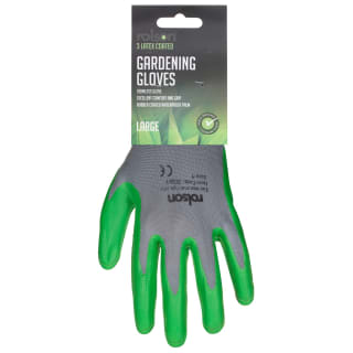 Rolson Latex Coated Gardening Gloves 3pk - Grey