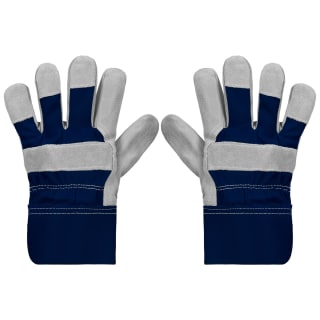 Rolson Heavy Duty Suede Gardening Gloves - Large - Navy