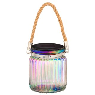 Iridescent Ribbed Glass Jar Solar Light