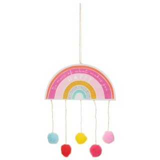 Rainbow Hanging Plaque - Happy