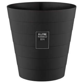 Ribbed Waste Bin 6L - Black