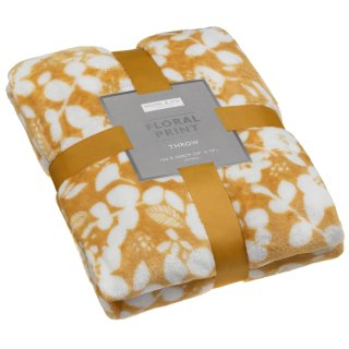 Home & Co Floral Print Throw - Ochre