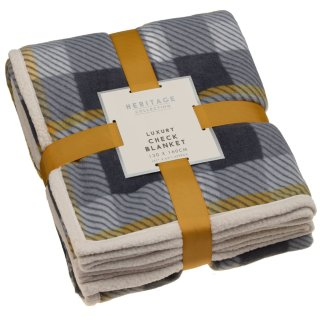 Luxury Check Blanket - Ochre