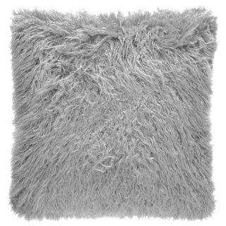 Mongolian Faux Fur Cushion - Silver