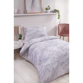 Loft Studio Marble Single Duvet Set - Grey