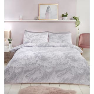 Loft Studio Marble Double Duvet Set - Grey