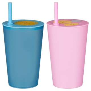 Kids Plastic Cup with Straw - Blue