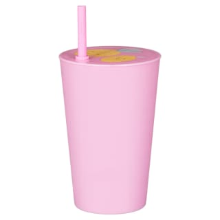 Kids Plastic Cup with Straw - Pink