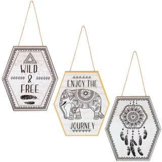 Hexagon Hanging Plaque - Dreamcatcher
