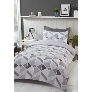 Geo Twin Pack Single Duvet Set - Grey