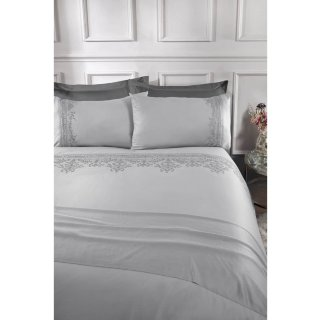 Embroidery Cotton King Duvet Set - Grey