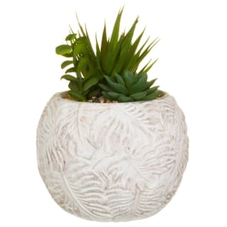 Embossed Pot with Artificial Foliage