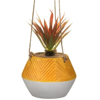 Hanging Plant in Embossed Pot - Ochre
