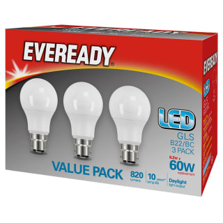 Eveready 60W GLS LED Daylight Bulb 3pk