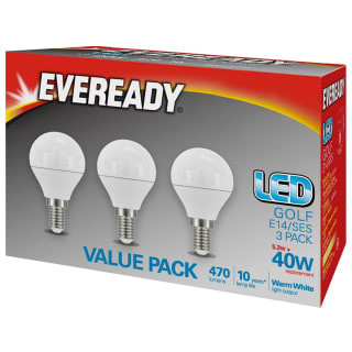 Eveready 40W E14 LED Golf Bulb 3pk